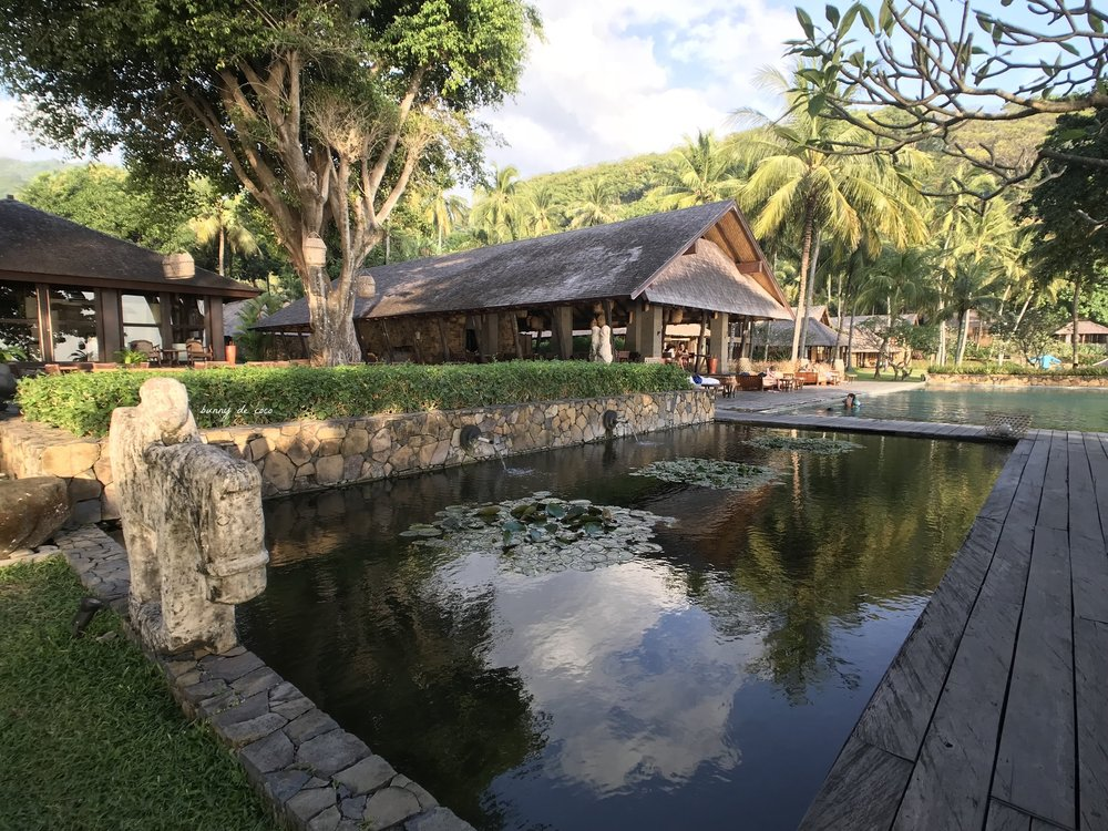 What lies beyond the trees:a pretty pond and a pool right in front of the sheltered dining area for guests to take a dip.