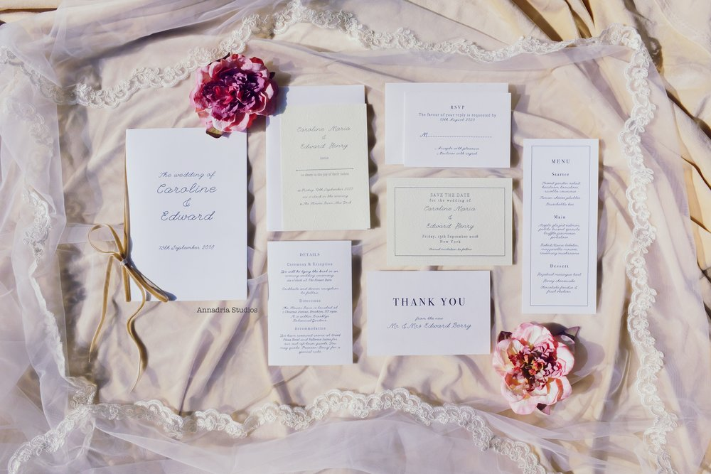The 'Caroline & Edward' invitation suite I designed, complete with save-the-date, RSVP, details, and thank-you cards, menu cards and program booklet. Printed on luxurious Japanese-made paper and premium cardstock.