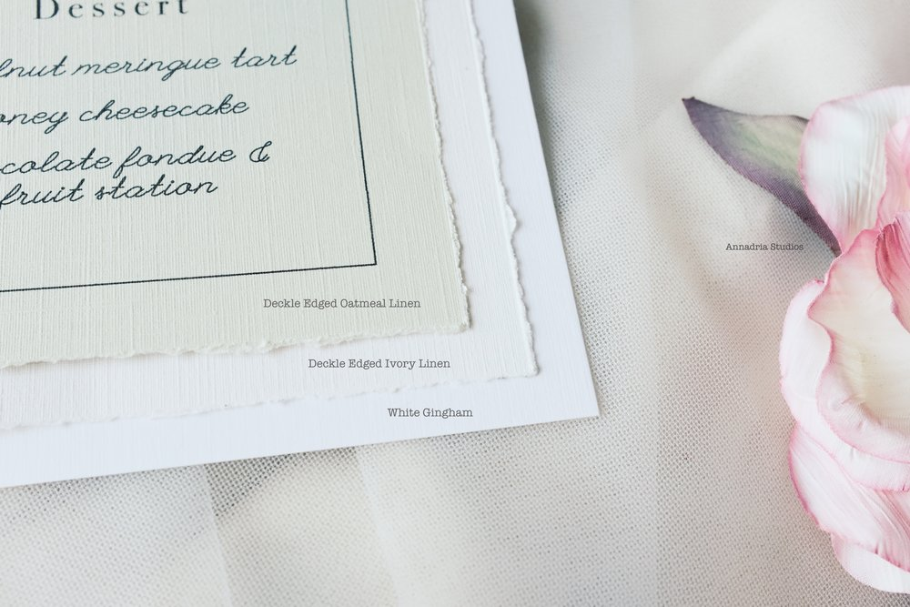 Close-up of cardstock choices