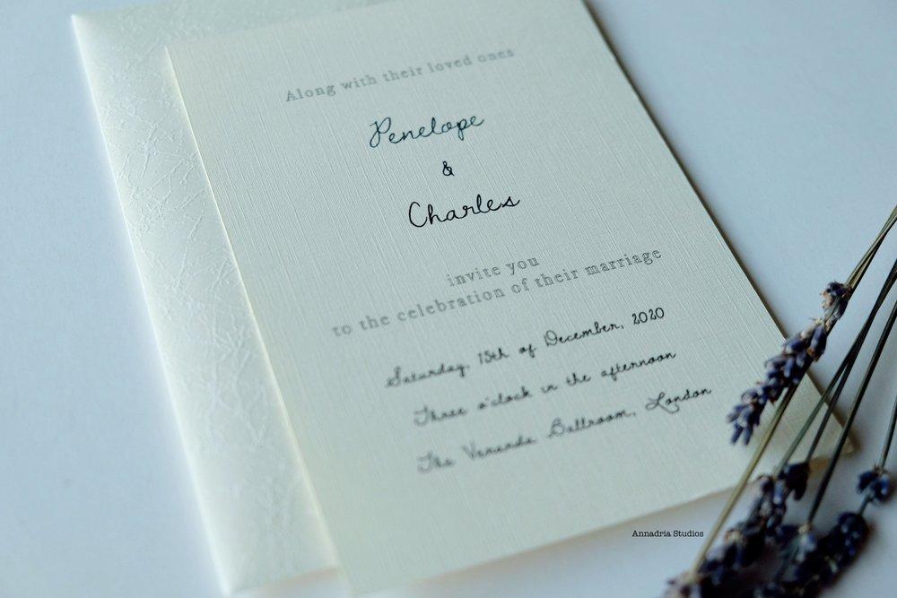 Modern classic invitations designed by  Annadria Studios