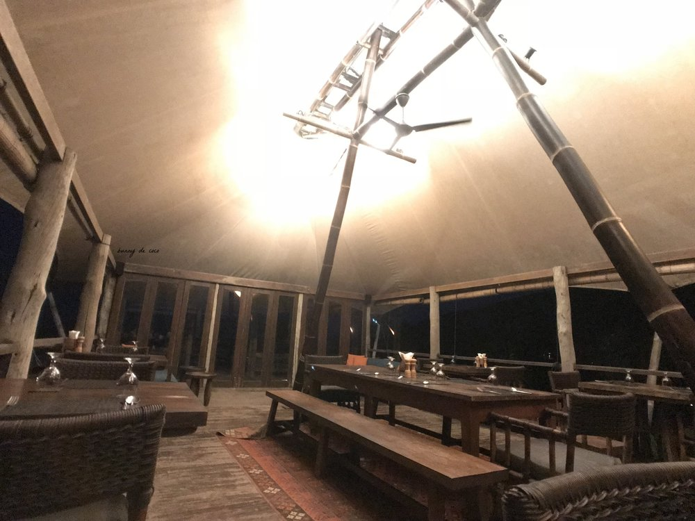 The dining area, at night.